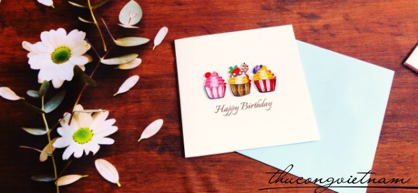 Thiệp quilling HPBD Cupcake