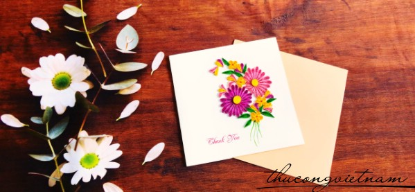 Thiệp quilling Thank you bông hoa
