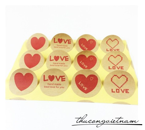 Sticker chữ love tim đỏ kraft