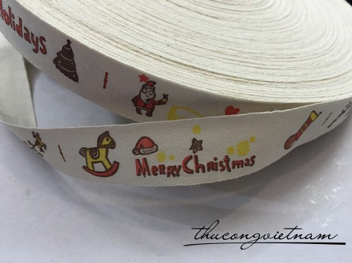 RB cotton in hình merry christmas độc đáo 2cm