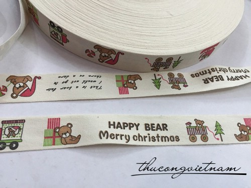 RB cotton in hình Happy bear merry christmas độc đáo 2cm