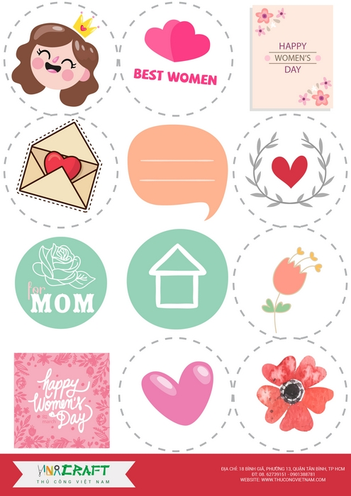 Sticker Happy Women's Day mẫu 2