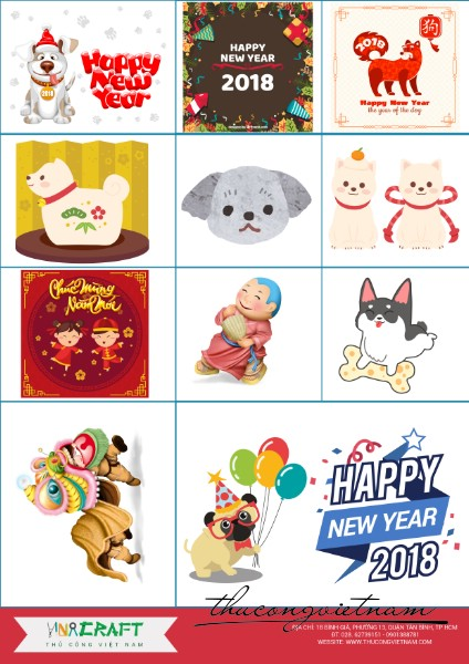 Sticker New Year 2018 mẫu 1