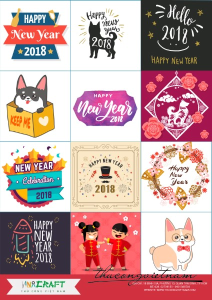 Sticker New Year 2018 mẫu 2