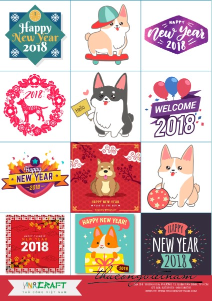 Sticker New Year 2018 mẫu 3
