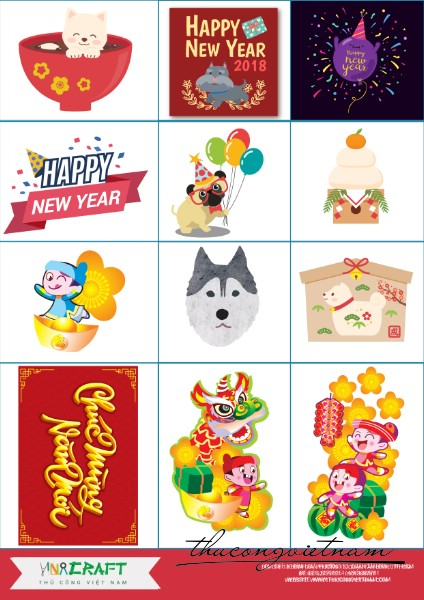 Sticker New Year 2018 mẫu 4