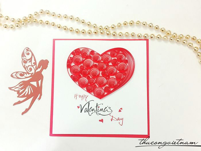 Thiệp quilling Happy valentine's day trái tim đỏ