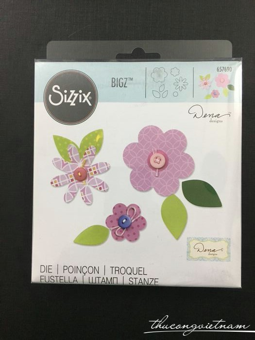 T4010003-657690-Khuôn cắt Sizzix Bigz Die Flower Layers & Leaves