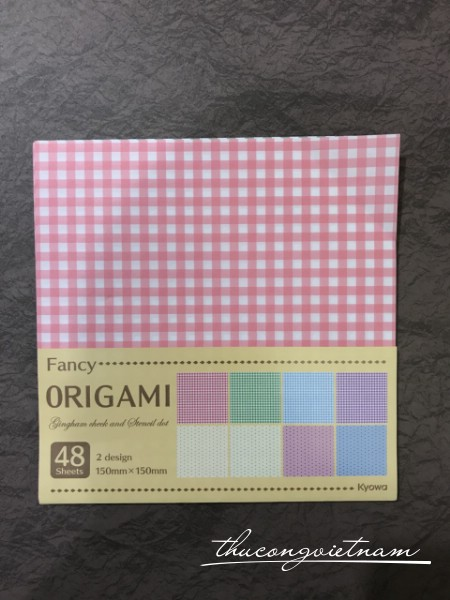 Giấy origami gingham check and stencil dot 48 tờ